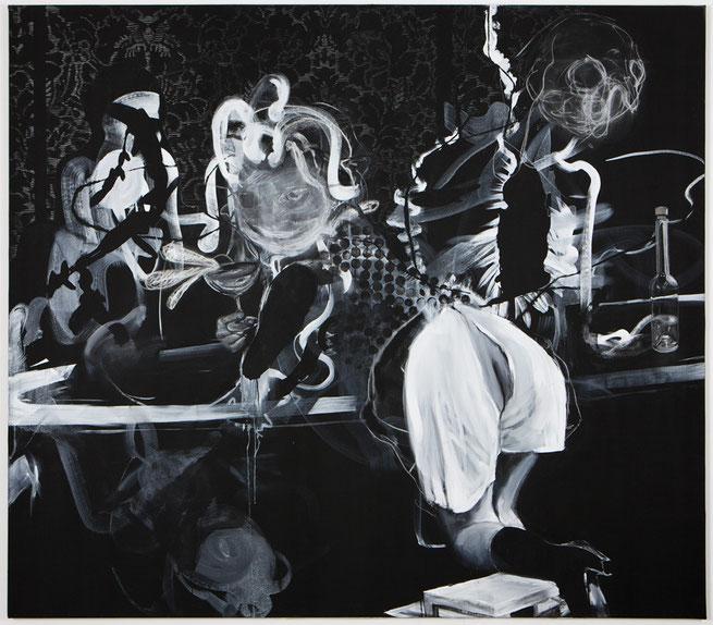 Untitled-            -Pastel, pigment on canvas-     -2013-     -230x250cm