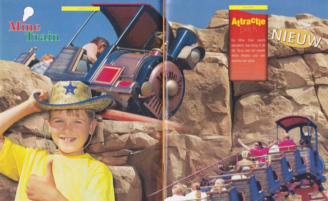 Aankondiging van de 'Mine Train' informatieboekje 2001 (Bron: Attractie- en Vakantiepark Slagharen).