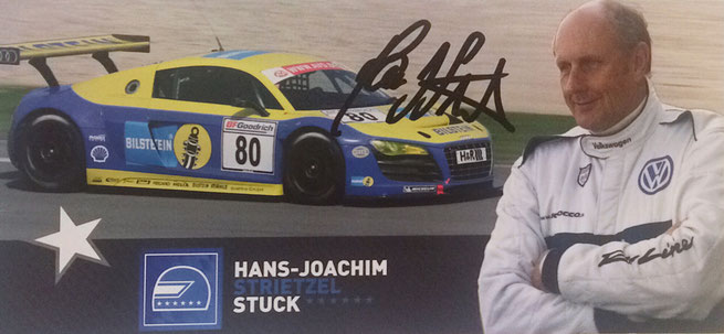 Hans-Joachim Stuck, Germany, retired, 74 Formula One Races, came in twice 3rd, 89 DTM Races whereof he won 13, won Le Mans and 24 hour Nürnburg Race twice,  Autographcard by Mail