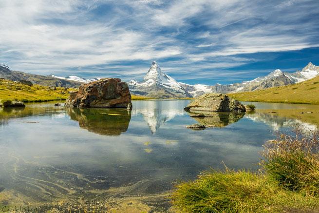 Der bekannte Stellisee - die Matterhornspiegelung war leider nicht perfekt aufgrund des Windes