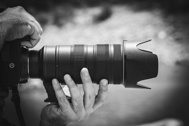 Spiegelreflexkamera und Teleobjektiv
