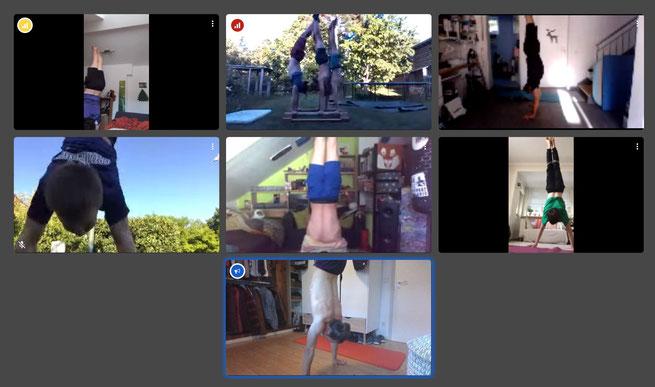 Die Grötzinger Jugendturner veranstalten via Skype eine Handstand-Challenge