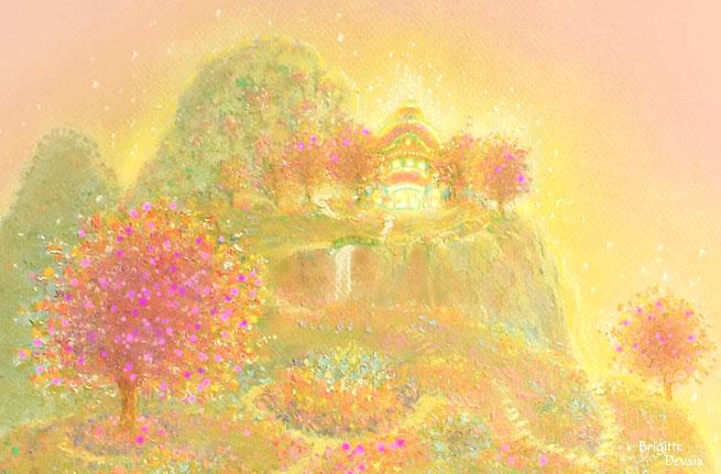 Brigitte-Devaia ART - Ein Gebets-Pavillon in den Bergen der lichten, jenseitigen Welt