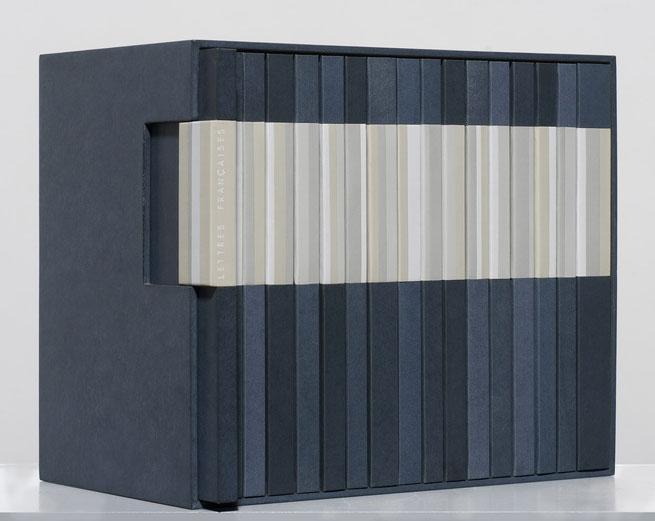 reliures - Lettres françaises, 16 volumes design bookbinding papier leather Anne Goy reliure d'art, bookdesign , reliure de création