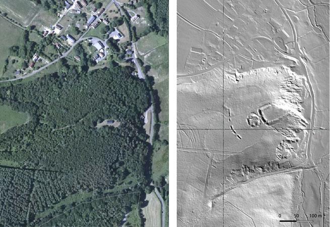 À gauche, l'image satellite au travers de laquelle aucune structure n'est visible, à droite, l'image Lidar, qui laisse apparaitre une motte castrale. ONF/SRA/N.Blanchard