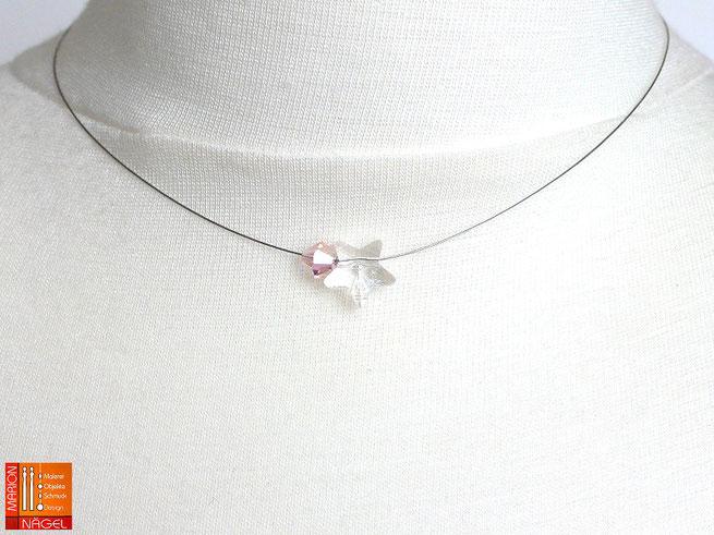 Halskette mit Glasstern und farbiger Glasschliffperle