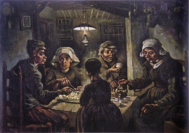 Los comedores de patatas – primera obra de Van Gogh (1885).