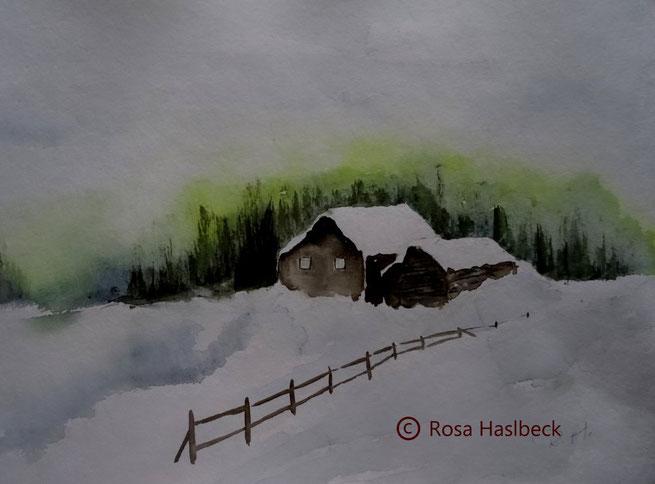 aquarell, landschaft, landschaftsaquarell, haus, bäume, blau, grün,  braun, winer, winterlandschaft, schnee, bild, kunst, bilder, malerei, malen, deko, dekoration, wandbilder, wand, geschenkidee, geschenke,malen, malerei, handgemalt,