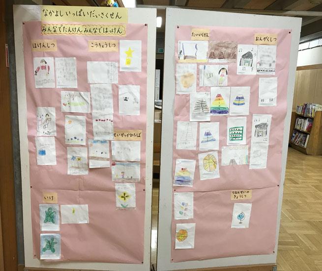 学校探検で見つけたことや描いた絵などを掲示し、蓄積していくと、子どもたちが比べたり、関連付けたりして気付きの質を高めることができる