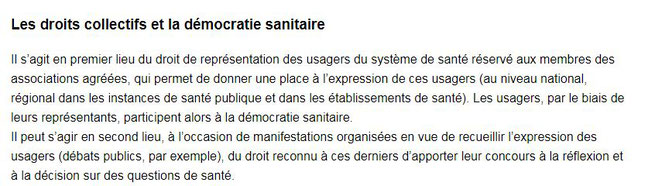 les droits collectifs et la démocratie sanitaire