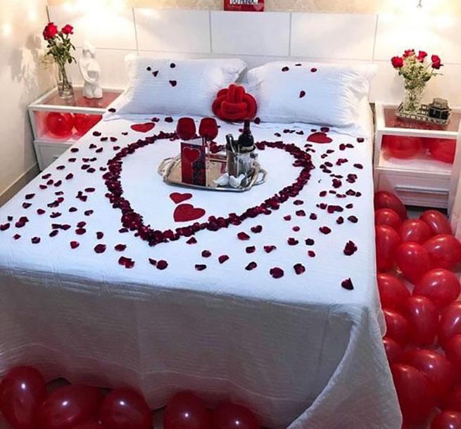 decoracion de cama para san valentin