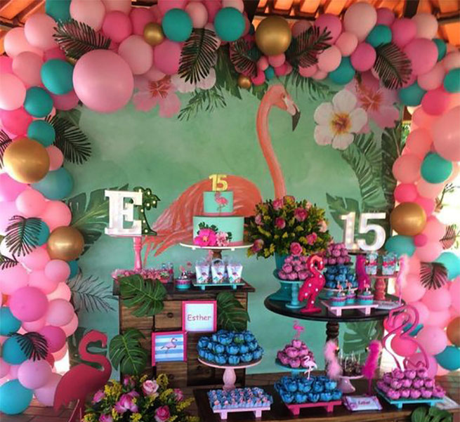 mesa de dulces fiesta flamingo