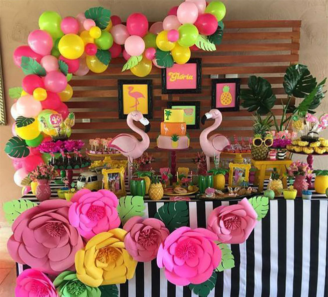 decoracion cumpleaños de flamingo
