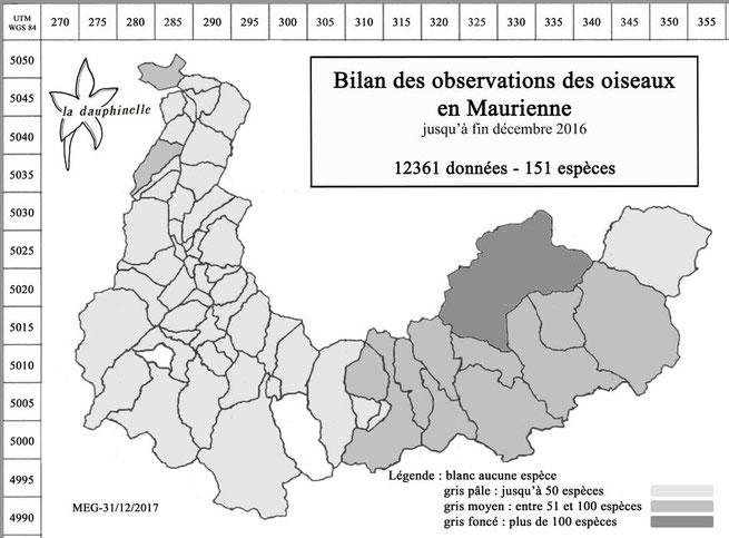 répartition des espèces d'oiseaux par communes de Maurienne