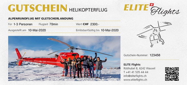 Elite Flights, Gutschein Helikopterrundflug, Helikopterflug Gutschein