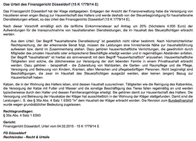 Urteil Finanzgericht Düsseldorf vom 04.02.2015   15 K 1779/14 E