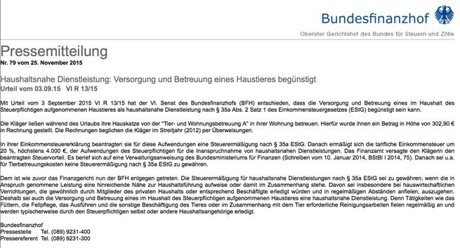 Pressemitteilung Bundesfinanzhof Nr. 79 vom 25.11.2015