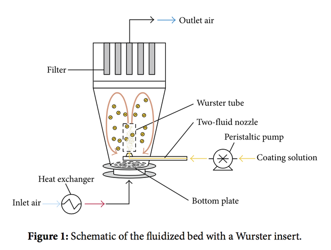 Graphic which shows the different elements of a fluidized bed coating device with a wurster insert
