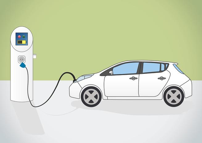 Zeichnung eines E-Autos beim Betanken