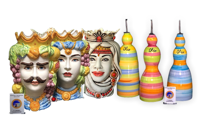 Oliera realizzata a mano con ceramica di Caltagirone - Handgemachter Ölkännchen mit Caltagirone-Keramik accessori cucina stile mediteraneo in svizzera  ceramica Siciliana