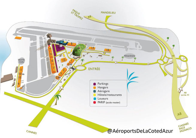 Plan d'accès au terminal d'aviation d'affaires à l'Aéroport de Cannes-Mandelieu