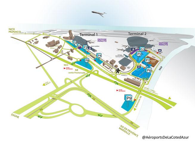 Plan d'accès 2019 au terminal d'aviation d'affaires de l'Aéroport de Nice Côte d'Azur
