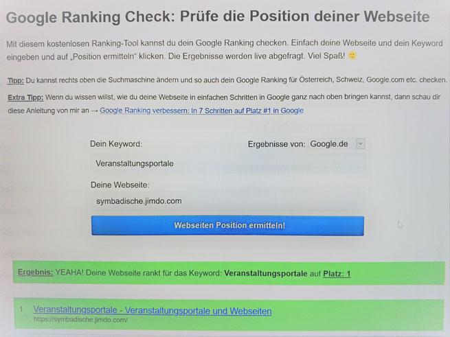 Google Ranking Keyword Veranstaltungsportale Platz 1