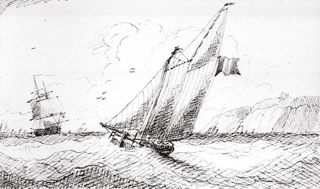 Petite goélette franche française dessin de Edward Bamfylde vers 1840 (Coll National Maritime Museum)