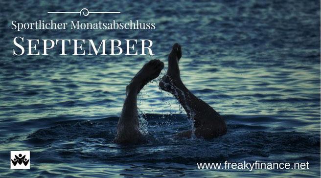 freaky finance, freaky routine, Monatsabschluss, September 2017, sportlicher Monatsabschluss, Wasser, Meer, See, Füße schauen aus dem Wasser, tauchen, schwimmen