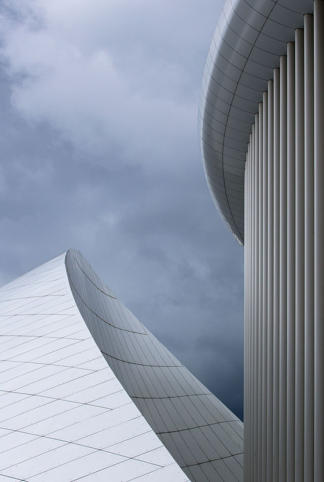 Philharmonie in Luxembourg with Modern Architecture, White Columns, Dark Sky, Europe, 1222x1820px