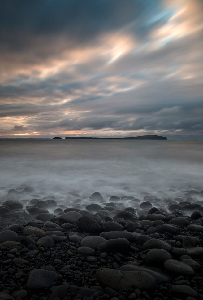 Rocks with blurred water, Nordurland, Skagarfjordur, Iceland, Long Exposure, ND-Filter, 1234x1820px