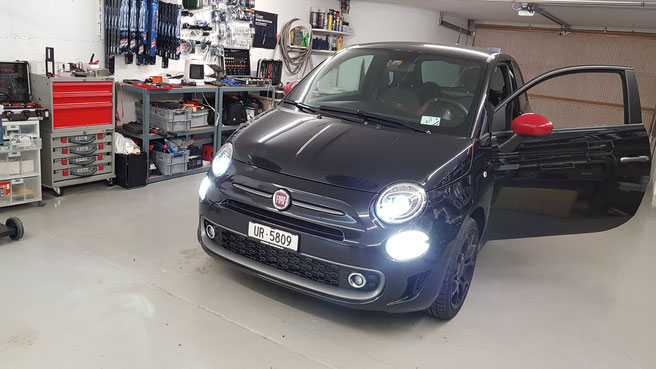 FIAT 500 LED Umbau  LED H7 Philips X-Treme Ultinon