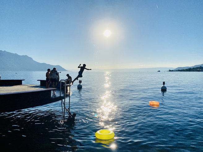 Genfer See, Lac Leman, Sprung ins Wasser
