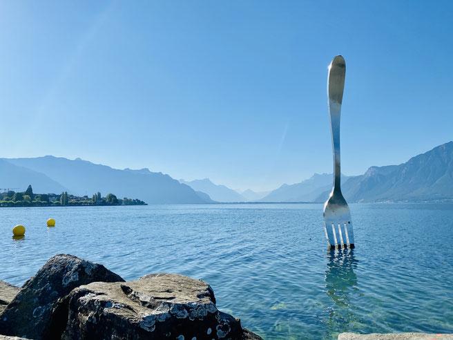 Gabel im Genfer See am Ufer von Vevey