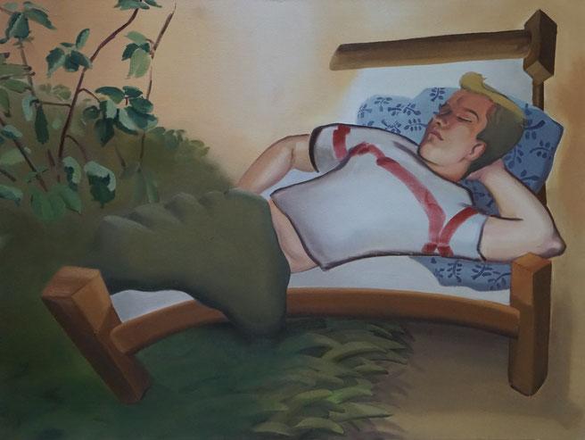 Schläfchen, 2020, Öl auf Leinwand, 90x 120 cm