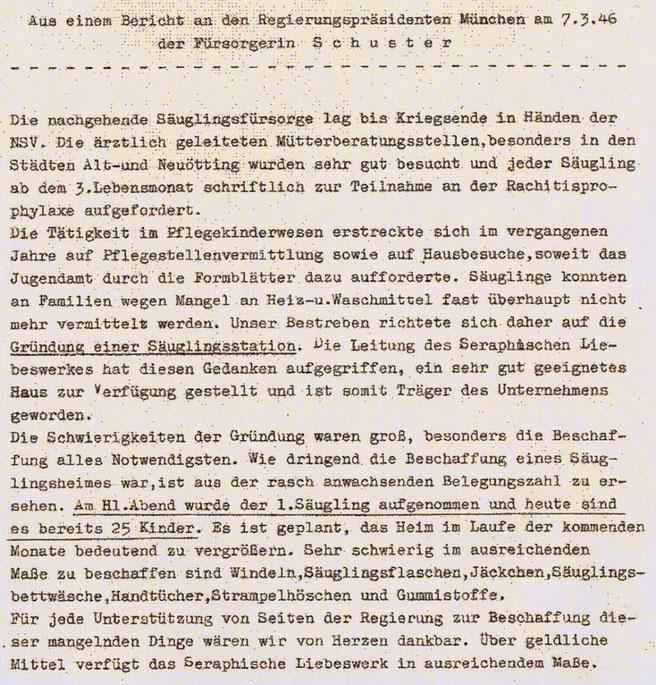 Auszüge aus einem Bericht an den Regierungspräsidenten München am 07.03.1946, erstellt von der Fürsorgerin Frau Katharina Schuster.