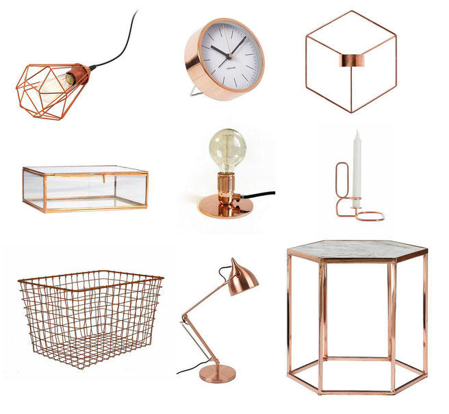 From top left corner: Eglo Tarbes lamp, Karlsson watch, Menu Pov candle holder, Madam Stolts box, Frama E27 Lamp, Hay LUP candle holder, Pt, wire basket, Zuiver lamp, Bloomingville side table.