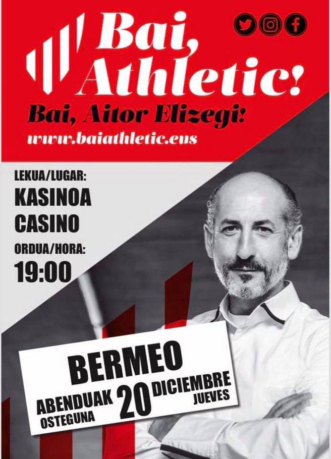Aitor ELizegi en uno de los carteles de la campaña electoral que le ha aupado a la presidencia del Atletic de Bilbao