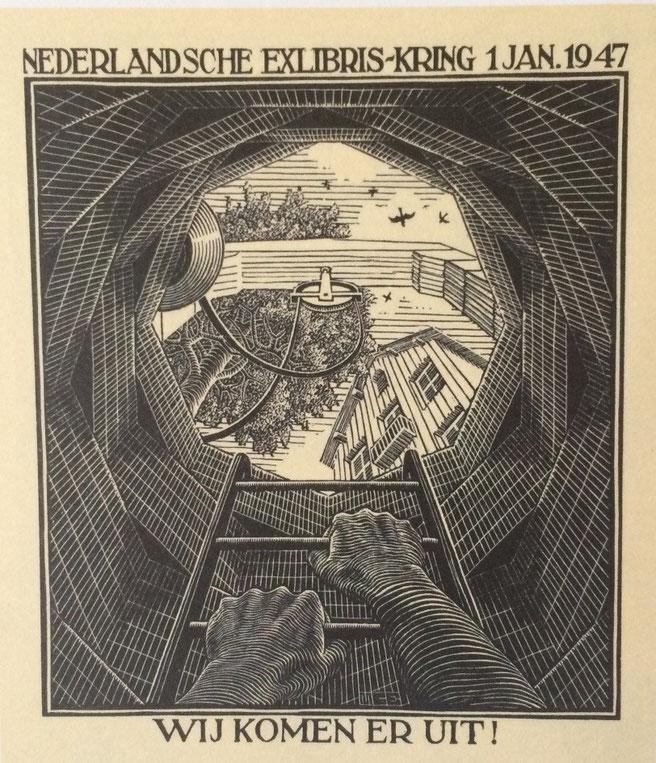 """M. Escher, """"Biglietto per il nuovo anno"""", 1 gennaio 1947, xilografia"""