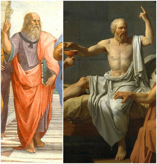 """Dettagli di R. Sanzio, """"La scuola di Atene"""" e J.L. David, """"La morte di Socrate"""""""