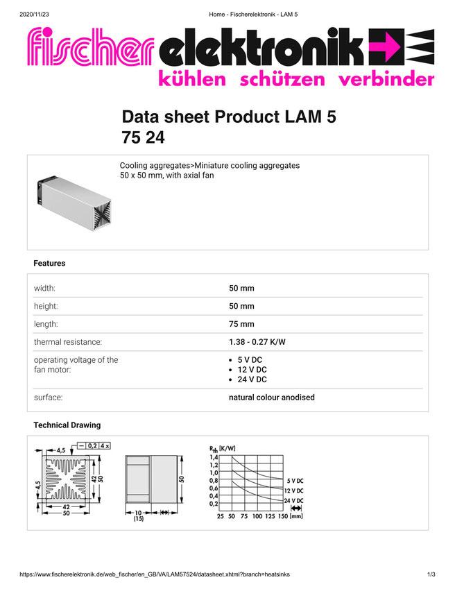 LAM 5 75 24 Fischer /フィッシャー 軸流ファン付 ヒートシンク