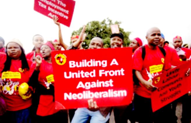 Arbejderdemo i Pretoria, Sydafrika