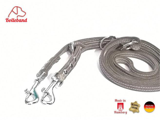 Fettlederleine grau mit heller Doppelnaht 3 fach verstellbar und Karabinern von Bolleband