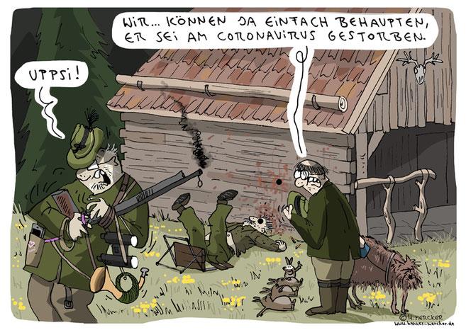 H. Mercker Cartoon über Jäger im Wald (und ihre Hintergedanken)