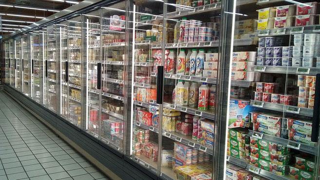 Closed fridges at the Intermarché, Gourdon.