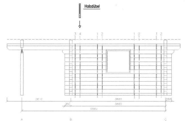 Holzdübel - Holznagel - Holzzapfen  im Blockhausbau - Planung eines Blockhauses  - Werkplanung - Blockhaus Hersteller - Handwerk