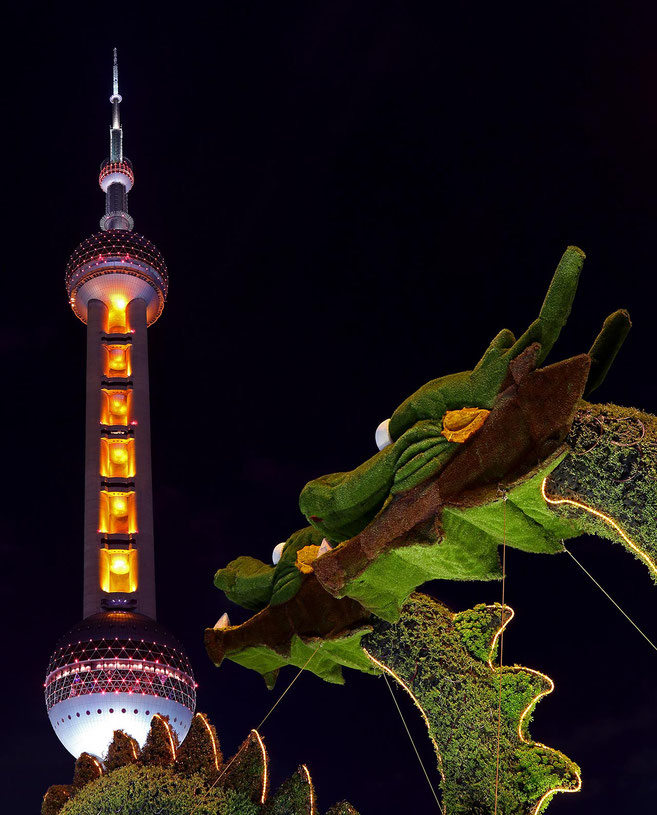 Shanghai Pearl Tower and Dragons at night, Pudong Skyscrapers, Skyline, Long Exposure, China 1280x1588px
