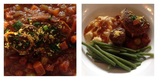 Osso Bucco met gremolato, aardappelpuree en sperziebonen.