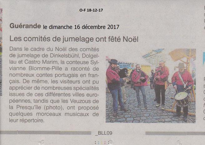 Extrait de Ouest France du 18 décembre 2017.
