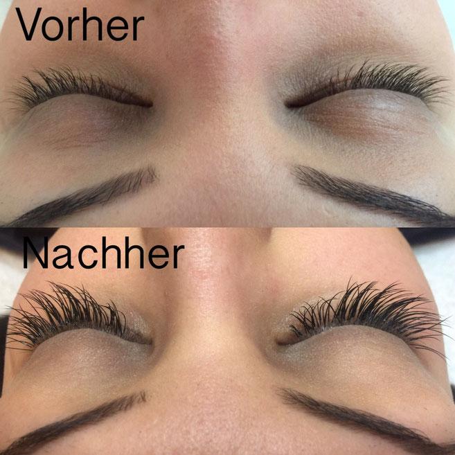 Wimpernverlängerung Wimpernextensions vorher-nachher Kosmetikstudio Basel